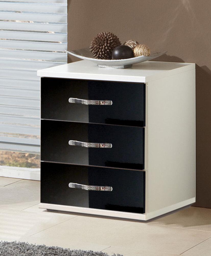 chevet 3 tiroirs trio blanc noir brillant. Black Bedroom Furniture Sets. Home Design Ideas