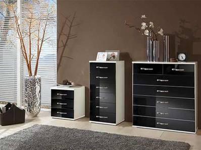 Chevet 3 tiroirs Trio blanc/noir brillant