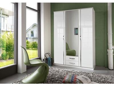 Armoire 3 portes 2 tiroirs Trio blanc