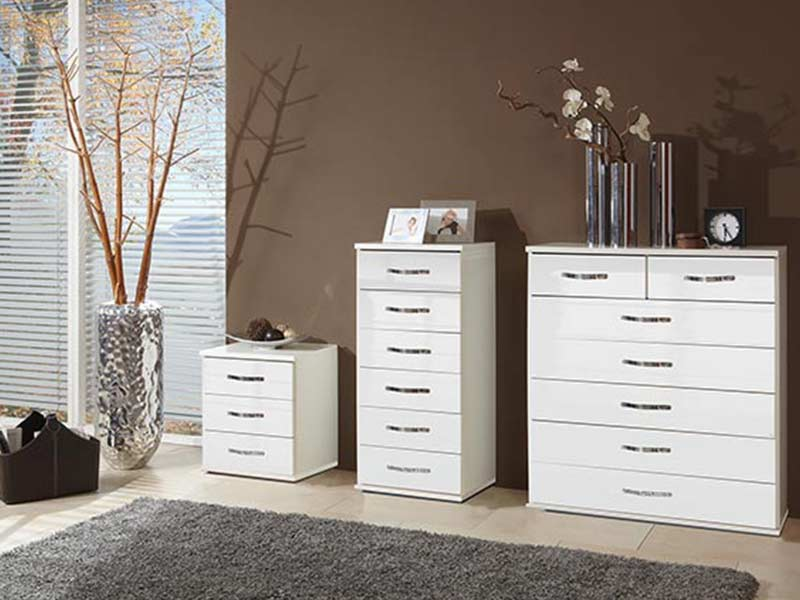 chiffonnier 6 tiroirs trio blanc blanc brillant. Black Bedroom Furniture Sets. Home Design Ideas