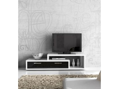 Meuble tv shine blanc brillant noir brillant for Meuble tv shine