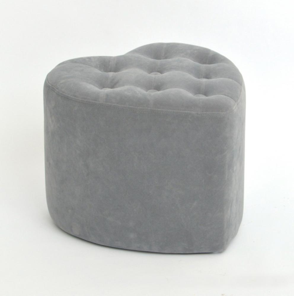 pouf coeur glam chic velours gris. Black Bedroom Furniture Sets. Home Design Ideas