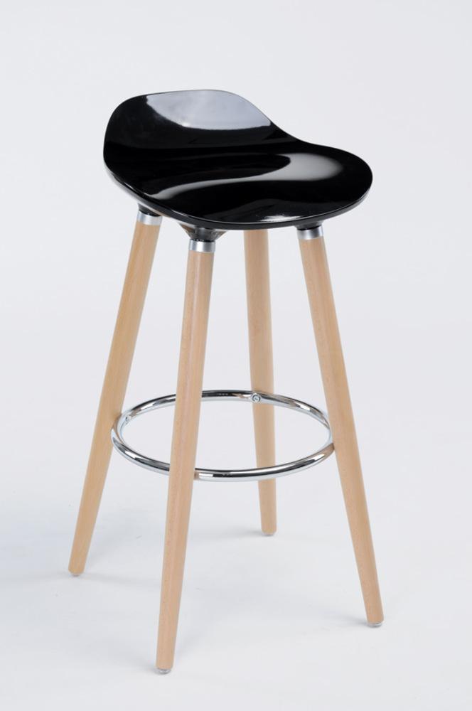 tabouret de bar filel naturel noir brillant. Black Bedroom Furniture Sets. Home Design Ideas