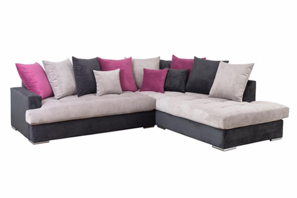 canape d 39 angle droite habana noir gris fushia. Black Bedroom Furniture Sets. Home Design Ideas