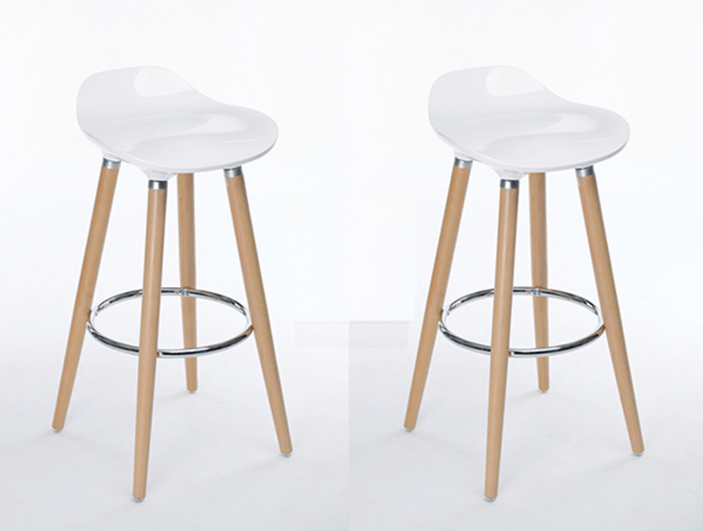 Lot de 2 tabourets de bar firel blanc for Siege de tabouret de bar
