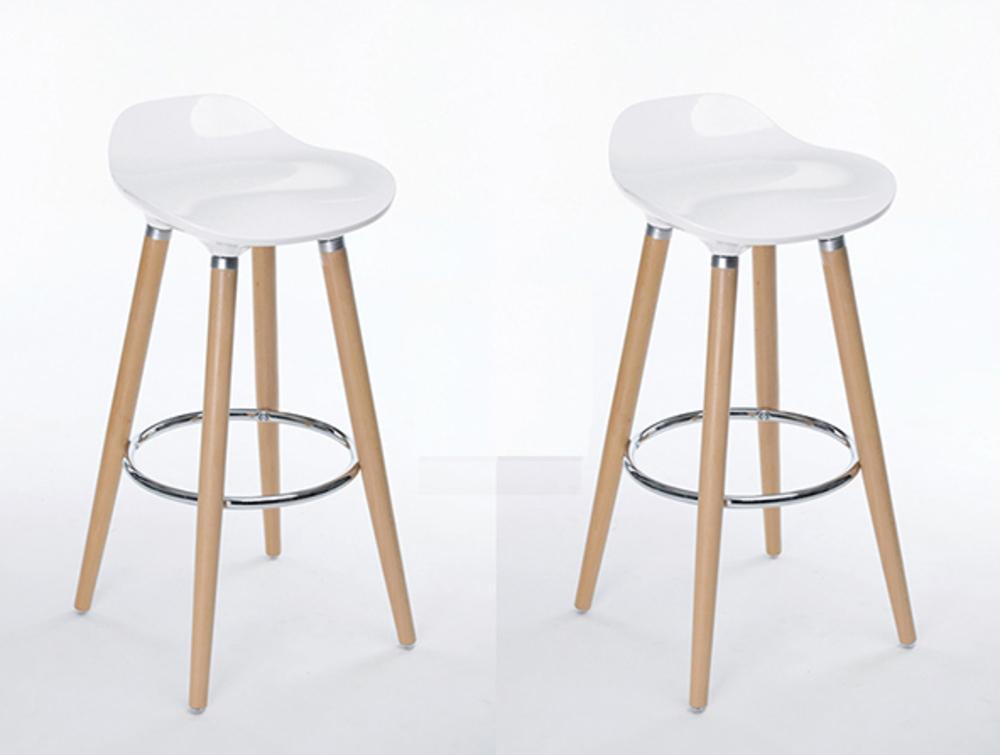 lot de 2 tabourets de bar firel blanc. Black Bedroom Furniture Sets. Home Design Ideas