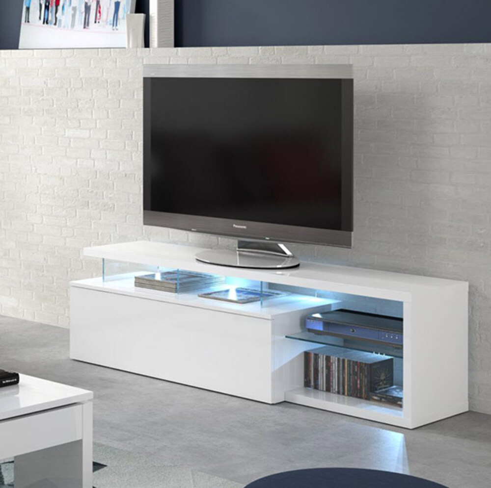 Meuble tv quintana blanc brillant for Meuble haut tv blanc