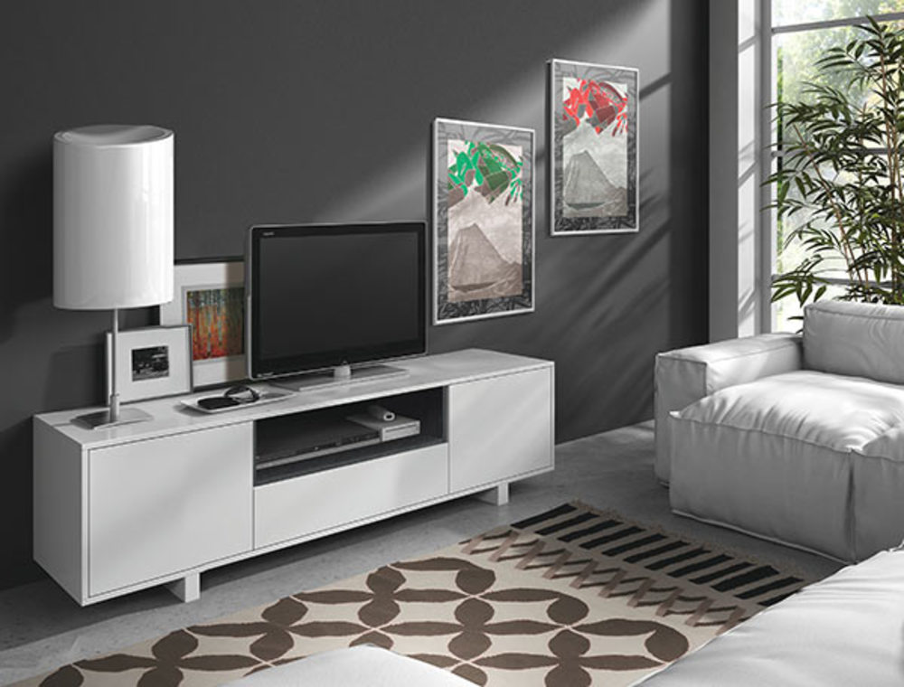 meuble tv perth blanc brillant gris cendr. Black Bedroom Furniture Sets. Home Design Ideas