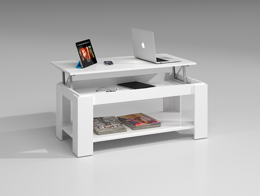 Table basse relevable gozo blanc brillant - Table basse relevable blanc laque ...