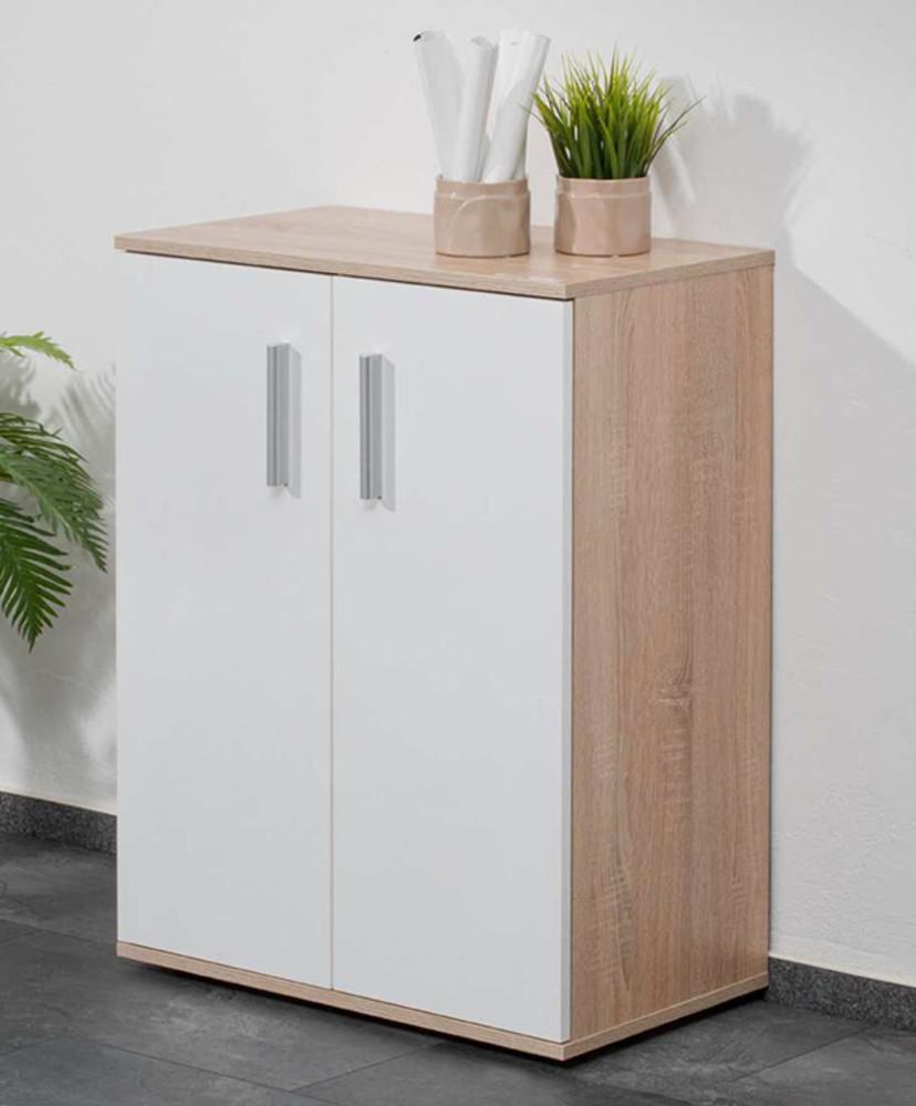 Meuble 2 Portes Conny Chene Sonoma Blanc # Meuble Blanc Et Chene