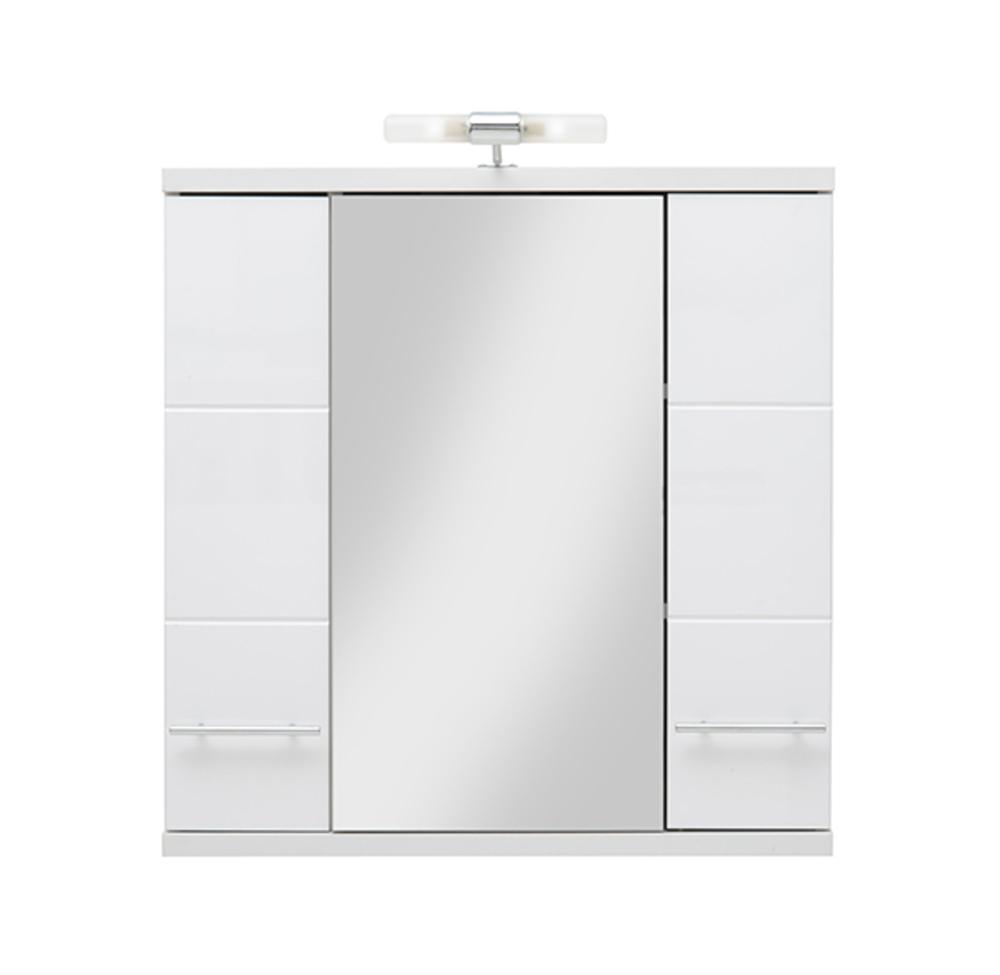 Element haut avec miroir bari blanc - Element haut salle de bain ...