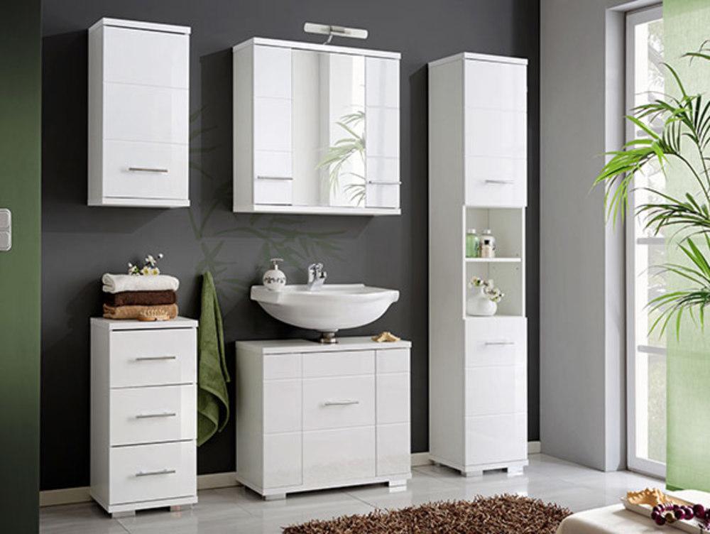 Element haut avec miroir bari blanc for Element lavabo salle bain