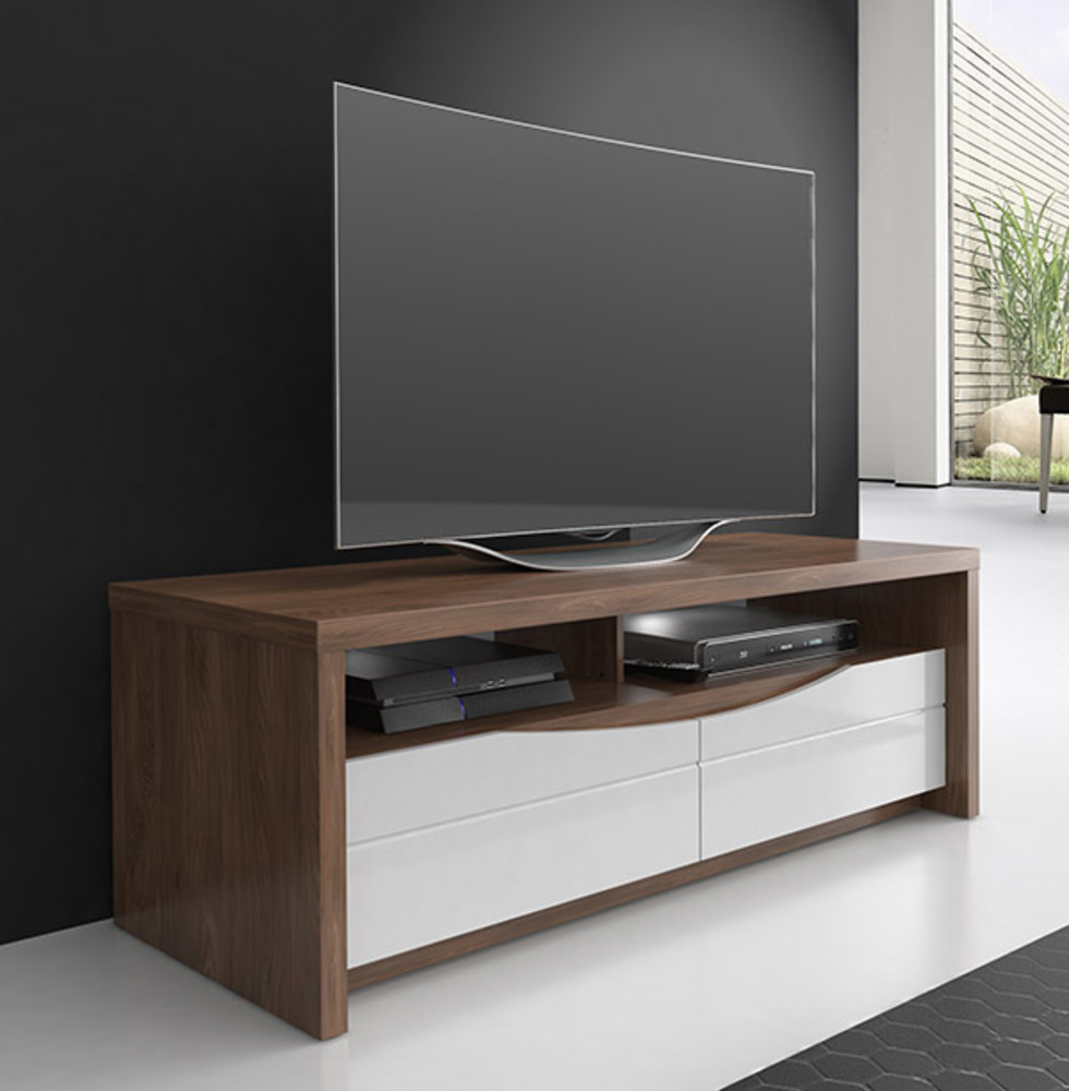 meuble tv pm saint tropez noyer blanc brillant. Black Bedroom Furniture Sets. Home Design Ideas