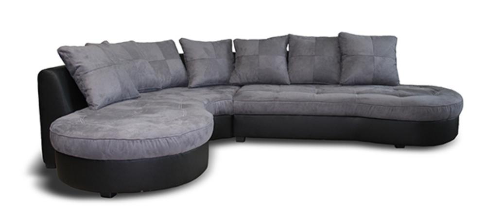 canap d 39 angle gauche jalis pu noir microfibre grise. Black Bedroom Furniture Sets. Home Design Ideas