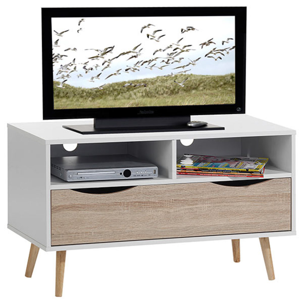 Meuble tv genova blanc chene sonoma for Meuble tv long blanc