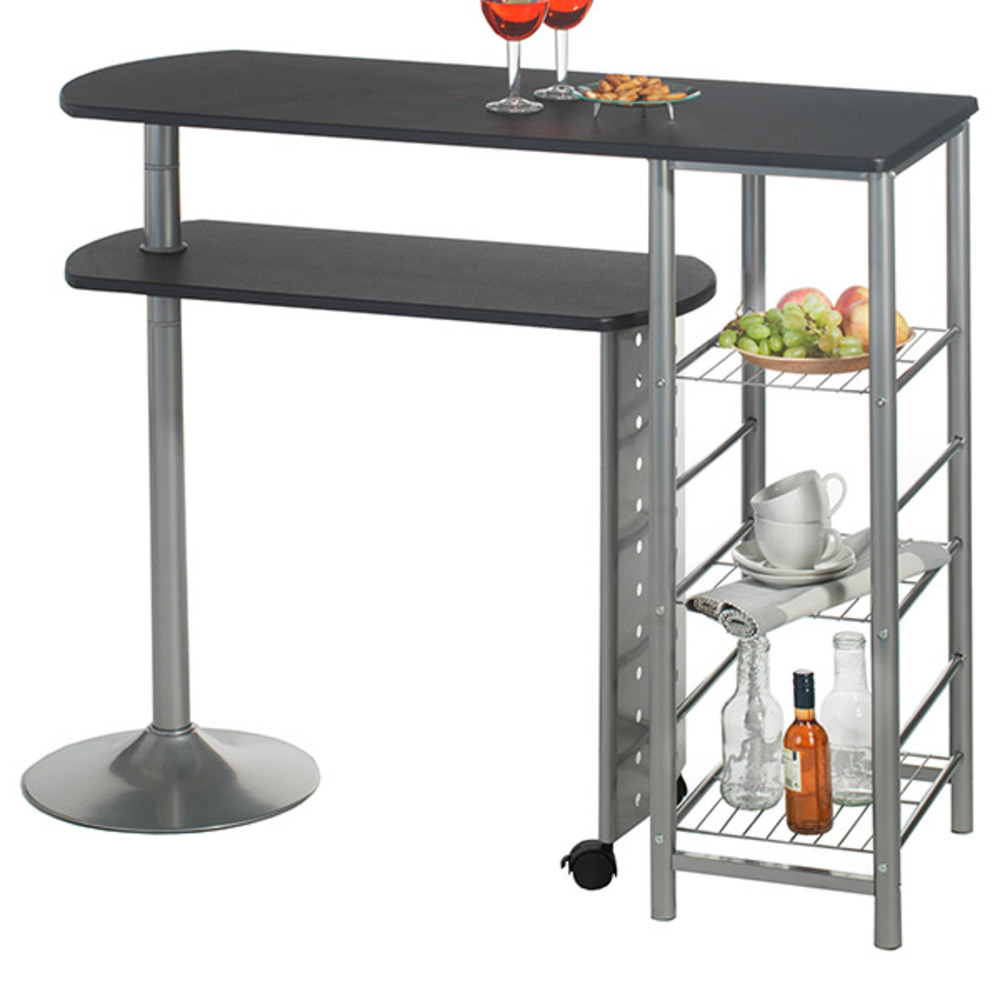 Table de cuisine noir table table haute de bar vigando 3 for Table cuisine noire
