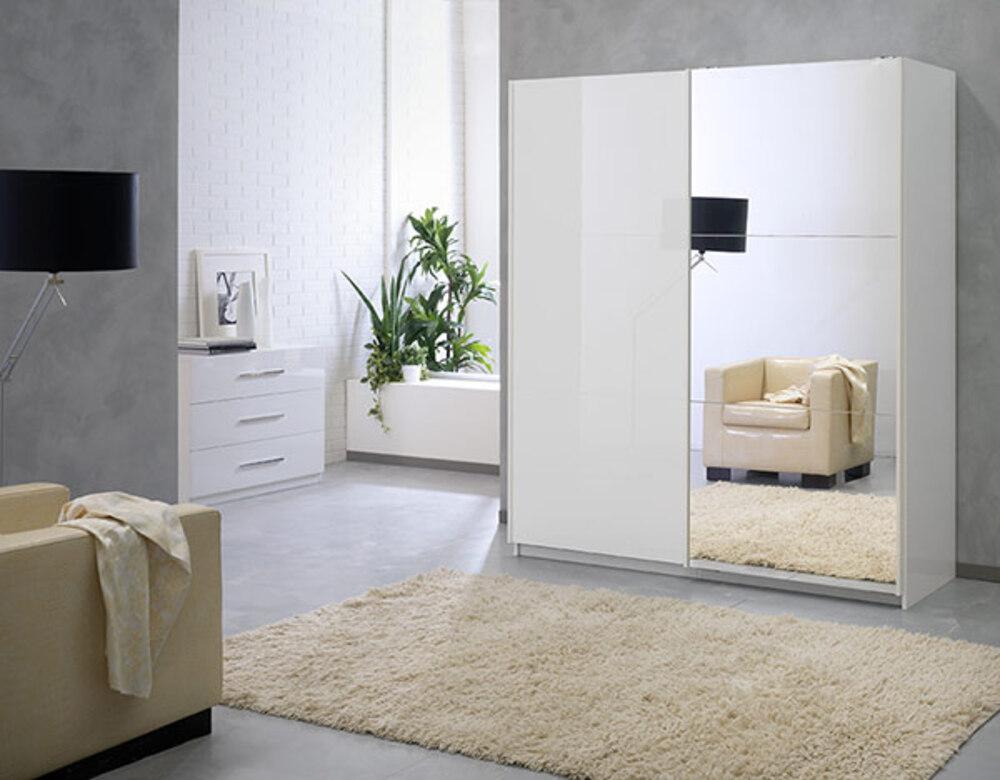 Armoire portes en cm laquée jazzy structure blanche blanc miroir