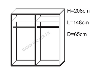 Armoire 2 portes en 148 cm laquée Jazzy/milan