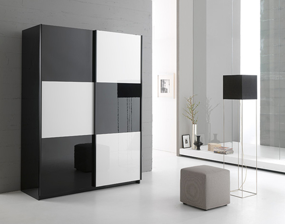 armoire 2 portes en 148 cm laqu e jazzy structure noire. Black Bedroom Furniture Sets. Home Design Ideas