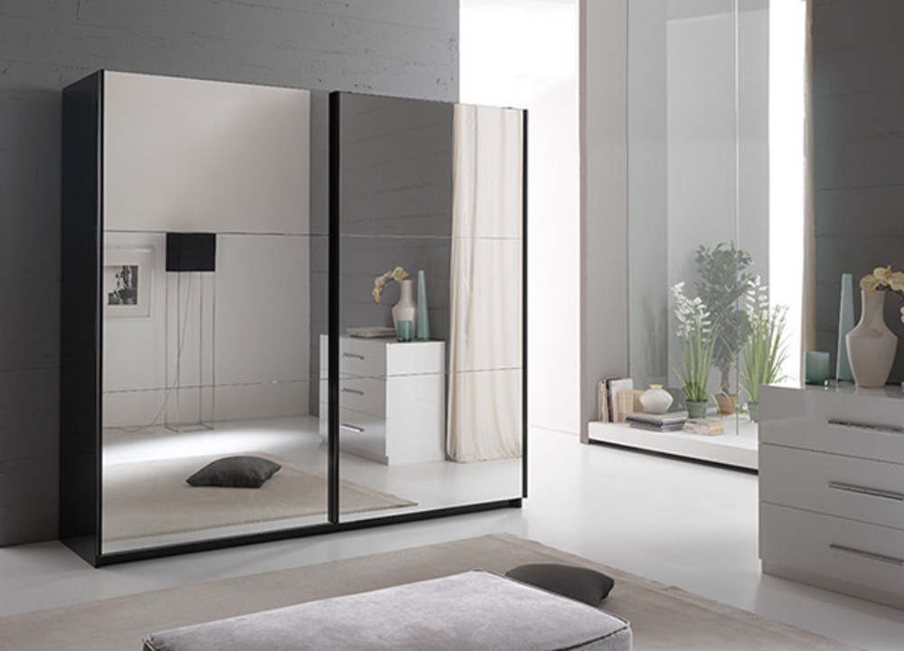 Armoire portes en cm laquée jazzy structure noire porte miroir