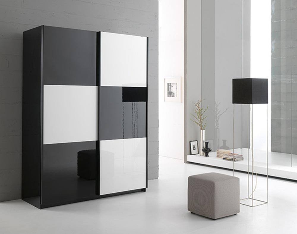 Armoire 2 portes en 180 cm laqu e jazzy structure noire noir blanc - Armoire noir et blanc ...