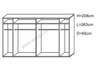 Armoire 2 portes en 263 cm laquée Jazzy