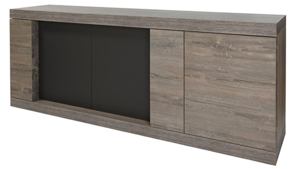 bahut 3 portes bologna chene brun noir mat. Black Bedroom Furniture Sets. Home Design Ideas