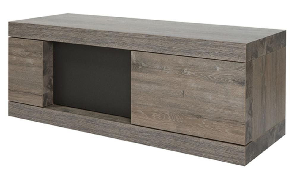 Meuble tv 2 portes bologna chene brun noir mat for Meuble 2 porte noir