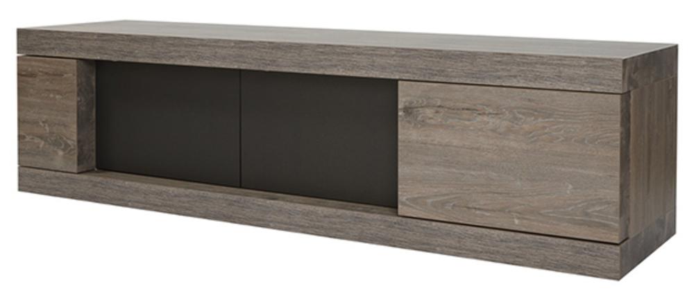 Meuble tv 3 portes bologna chene brun noir mat for Meuble tv 50 cm de profondeur
