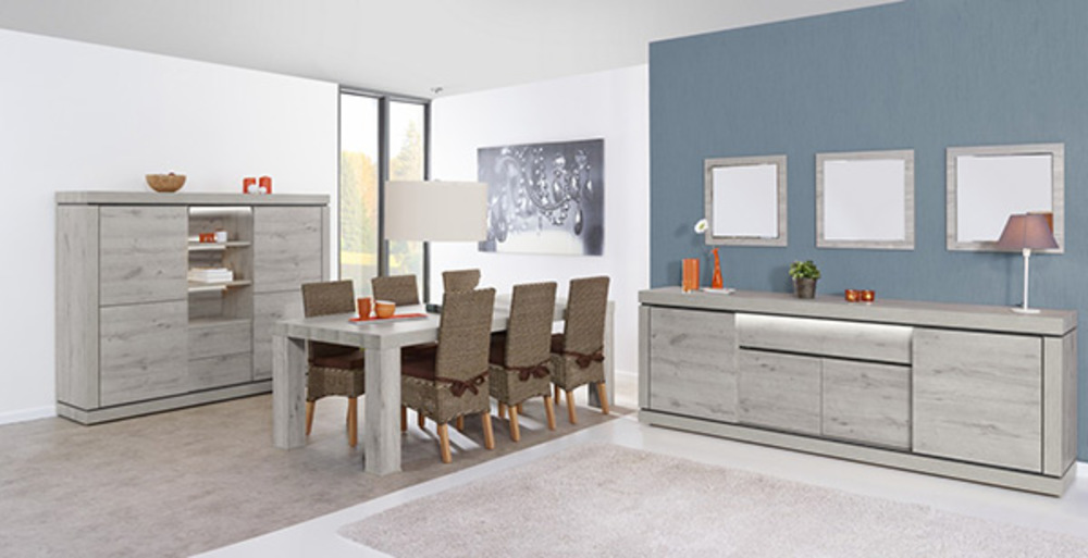 bahut 4 portes 1 tiroir bristol chene blanchi grise. Black Bedroom Furniture Sets. Home Design Ideas