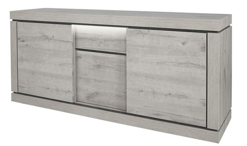 bahut 3 portes 1 tiroir bristol chene blanchi grise. Black Bedroom Furniture Sets. Home Design Ideas