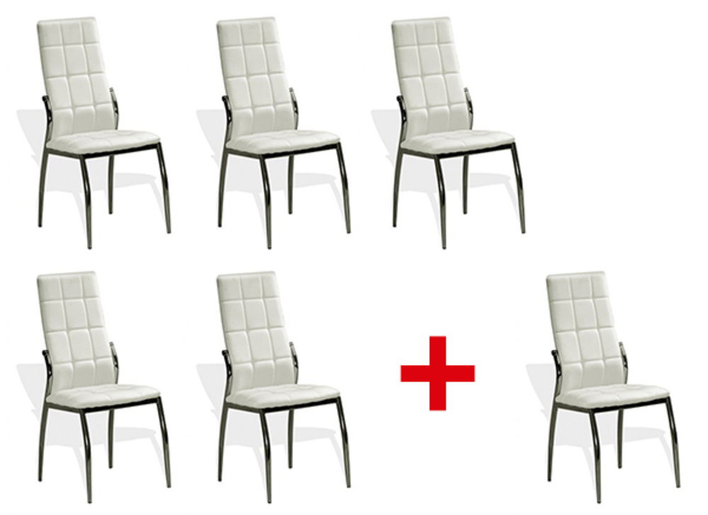 lot de 5 chaises 1 offerte viletta blanc. Black Bedroom Furniture Sets. Home Design Ideas