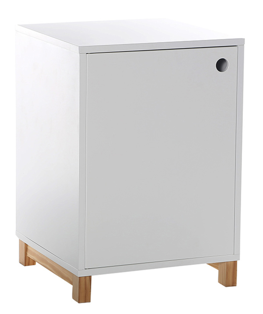Caisson 1 porte stan blanc brillant for Petit bureau multimedia
