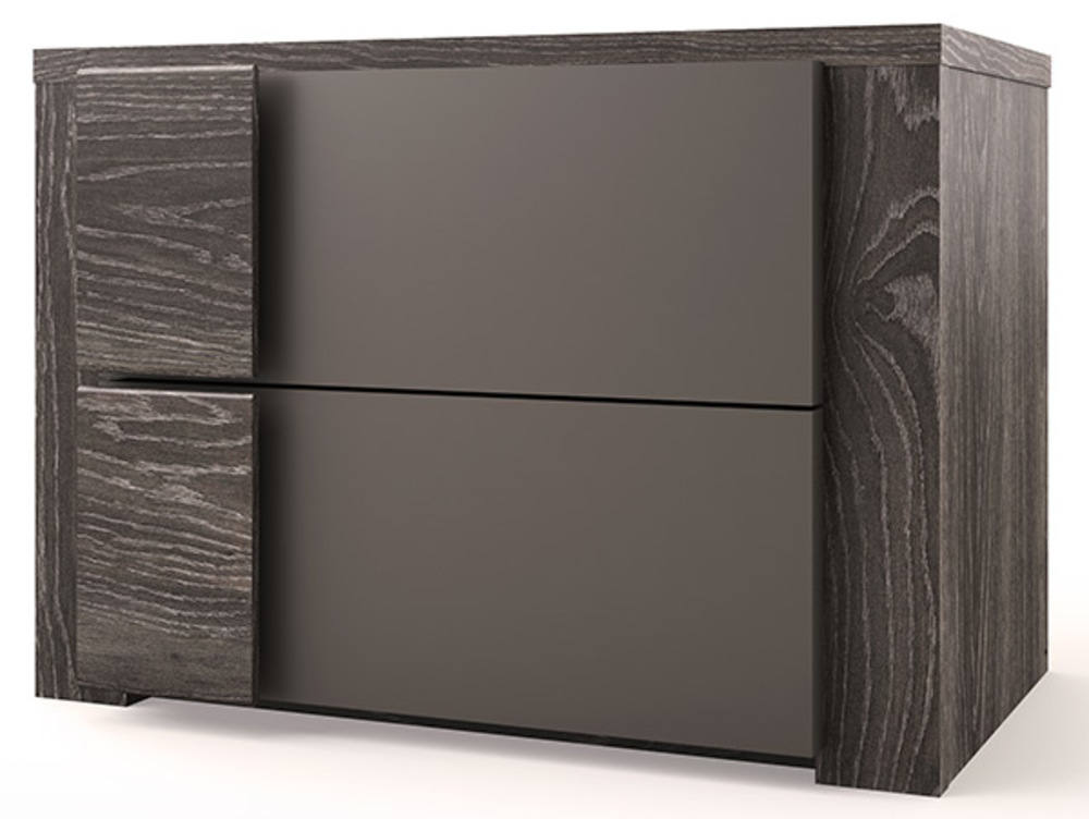chevet 2 tiroirs lodge chene anthracite gris mat. Black Bedroom Furniture Sets. Home Design Ideas
