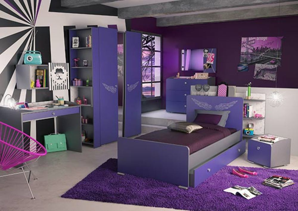 lit glam violet gris. Black Bedroom Furniture Sets. Home Design Ideas
