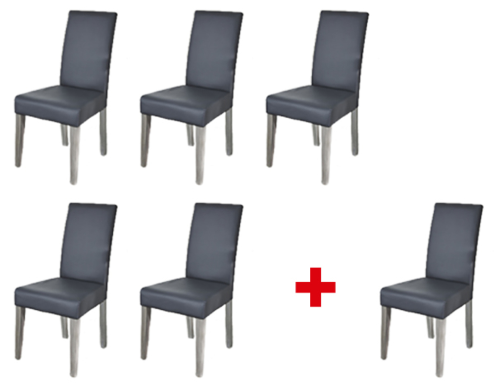 Lot de 5 chaises 1 offerte namur gris for Chaise salle a manger osier