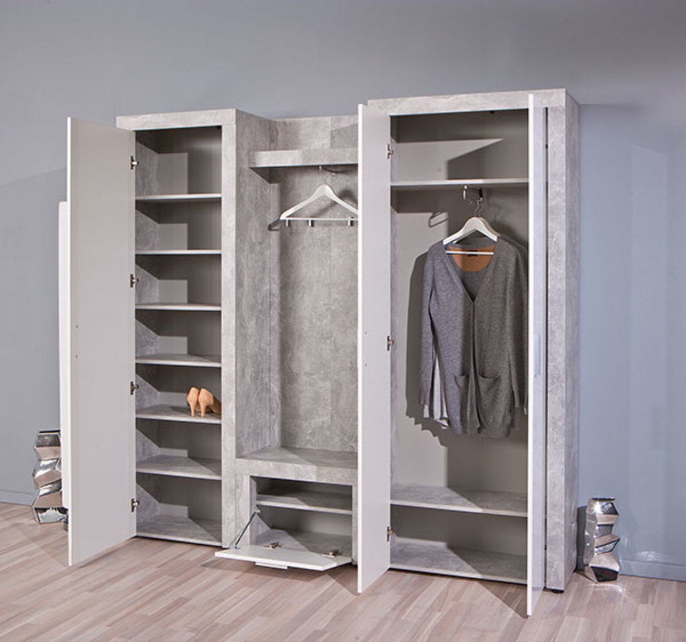 armoire 2 portes beton hell b ton blanc. Black Bedroom Furniture Sets. Home Design Ideas