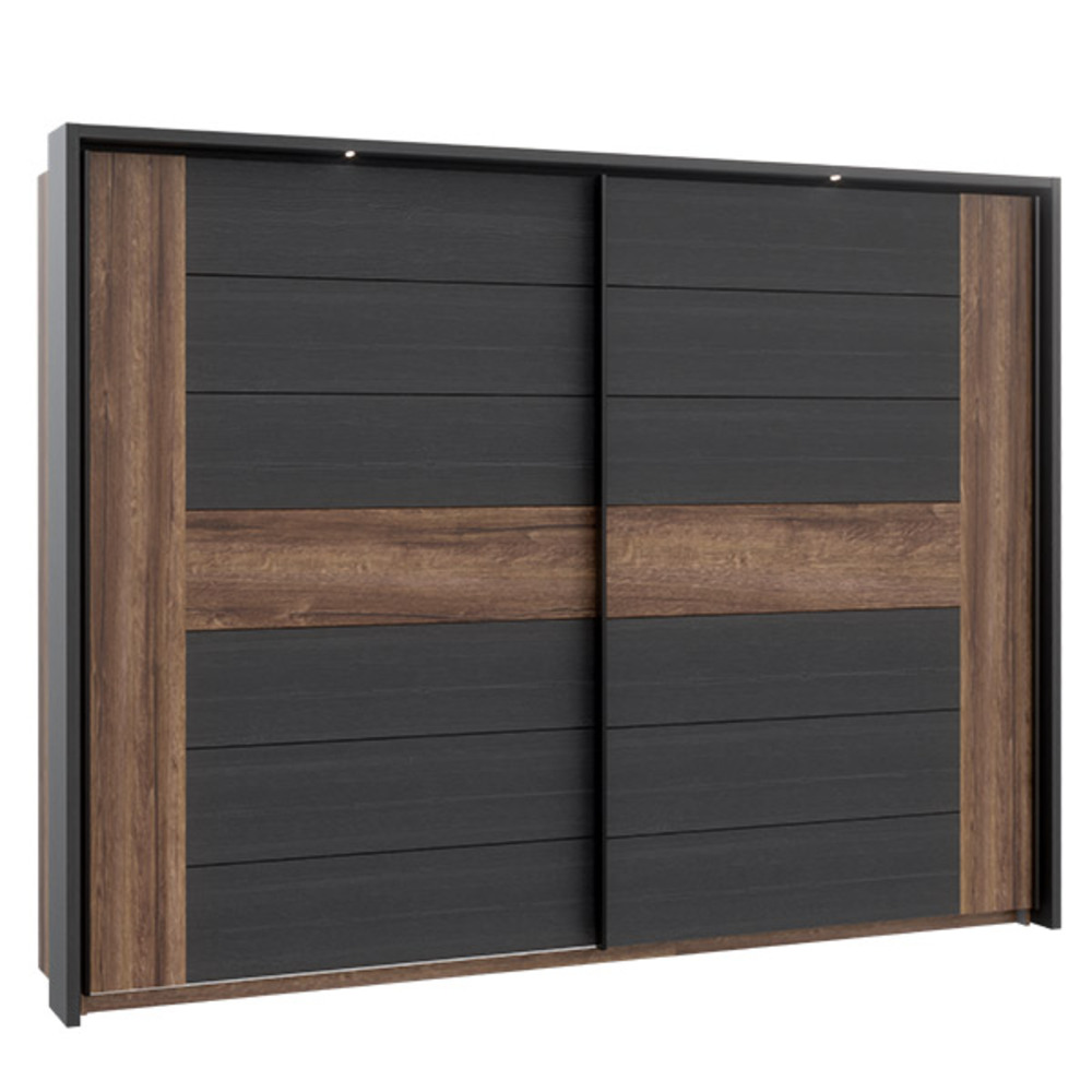 armoire 2 portes bellevue chene chene noir. Black Bedroom Furniture Sets. Home Design Ideas