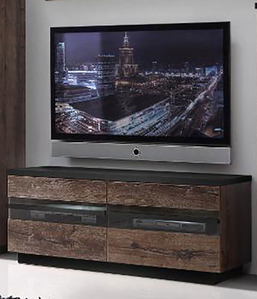 meuble tv abro chene marron chene noir. Black Bedroom Furniture Sets. Home Design Ideas