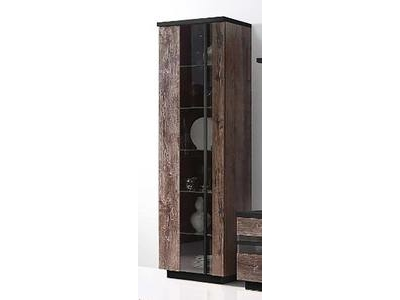 vitrine 1 porte abro chene marron chene noir. Black Bedroom Furniture Sets. Home Design Ideas