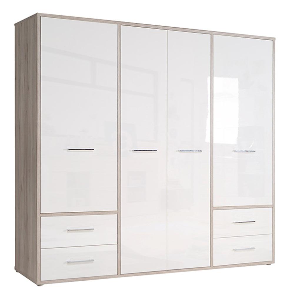 armoire 4 portes 4 tiroirs jandia chene cendr blanc brillant. Black Bedroom Furniture Sets. Home Design Ideas
