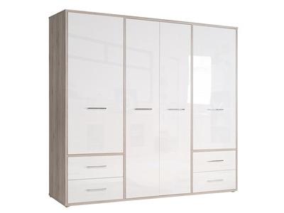 Armoire 4 portes 4 tiroirs Jandia Chene cendré/blanc brillant