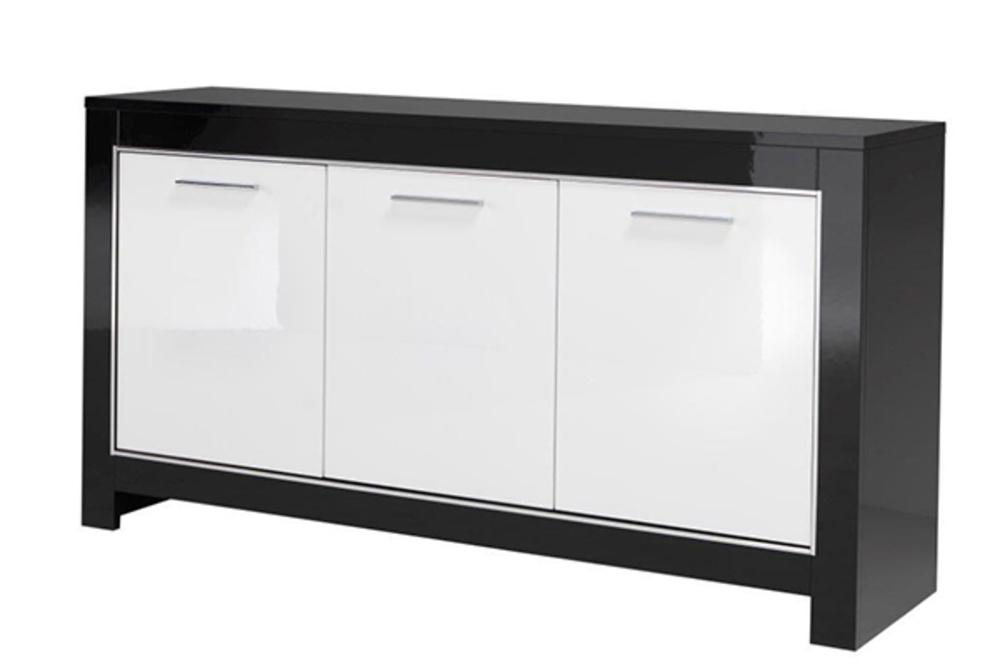 Bahut 3 portes modena laqu e noire blanc noir blanc Porte laquee blanc