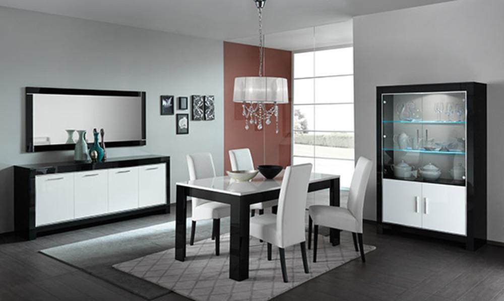 Bahut 4 portes modena laqu e noire blanc noir blanc for Rangement salle a manger