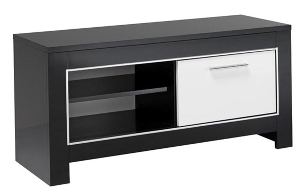 Meuble tv pm modena laqu e noire blanc noir blanc - Meuble tv hifi blanc ...