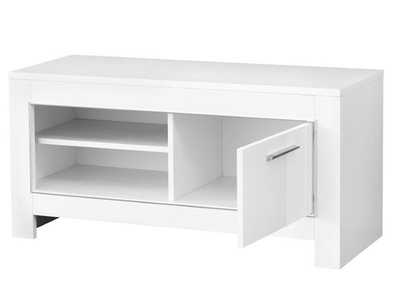 Meuble tv pm modena laqu e noire blanc noir blanc for Meuble tv petite taille