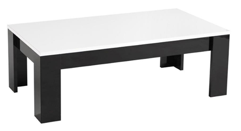 table basse modena laqu e noire blanc noir blanc l 126 x h 42 x p 67. Black Bedroom Furniture Sets. Home Design Ideas
