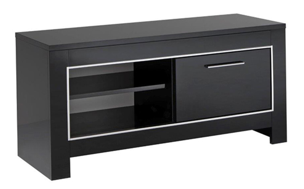 Meuble tv pm modena laqu e noire - Petit meuble tv noir ...
