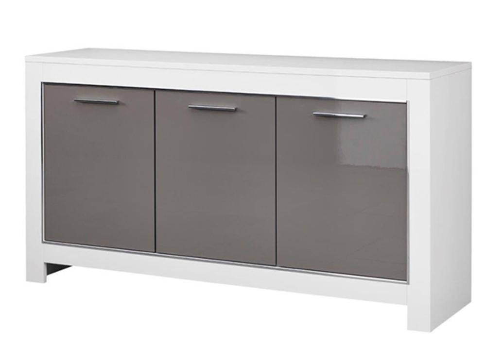 bahut 3 portes modena laqu e blanc grise. Black Bedroom Furniture Sets. Home Design Ideas