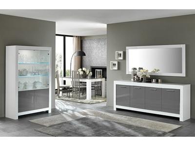 Bahut 3 portes modena laqu e blanc grise for Goedkoop interieur